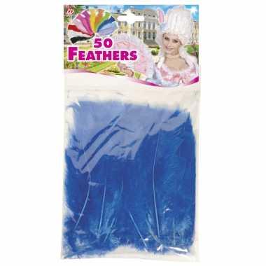 100x blauwe veren/sierveertjes decoratie/hobbymateriaal 17 cm
