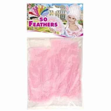 150x licht roze veren/sierveertjes decoratie/hobbymateriaal 17 cm
