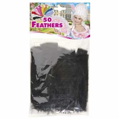 200x zwarte veren/sierveertjes decoratie/hobbymateriaal 17 cm