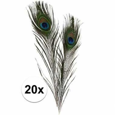 20x decoratie pauwenveren