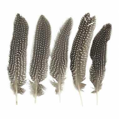 Parelhoen veren 18 cm 5 stuks