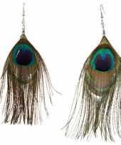 Pauwenveren oorbellen
